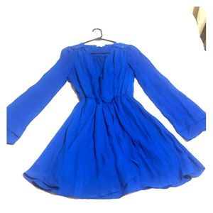 Royal blue long, flavored-sleeve wrap style dress